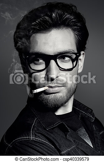 portrait of a smoking man - csp40339579