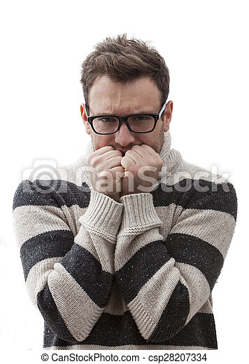 Portrait of a Terrified Man - csp28207334