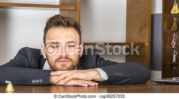 Portrait of a Tired Receptionist - csp36257033
