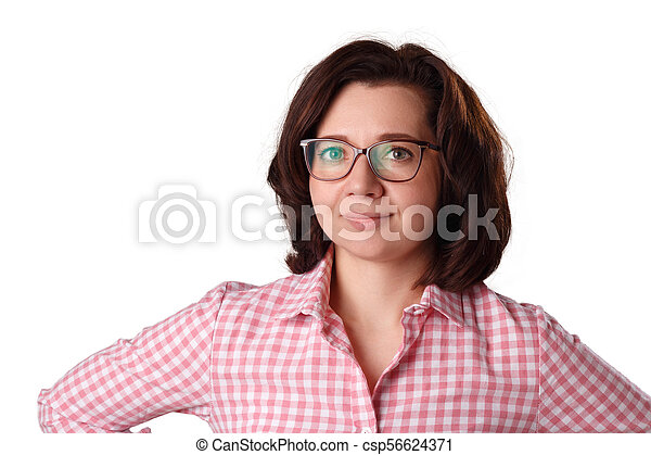 Portrait of a woman in glasses, isolated on white background - csp56624371