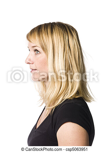 Portrait of a woman in profile - csp5063951