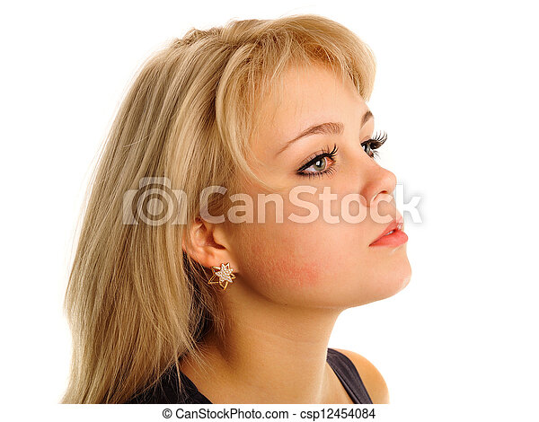 Portrait of a Woman on a white background - csp12454084
