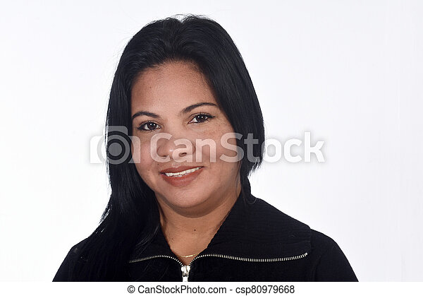 portrait of a woman on white background - csp80979668