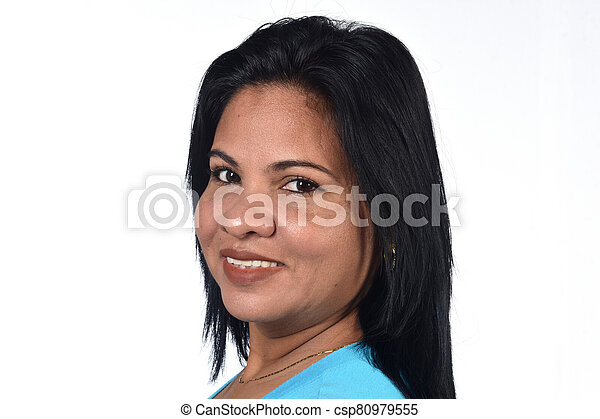 portrait of a woman on white background - csp80979555