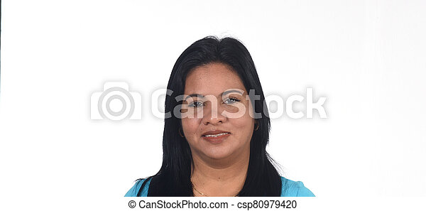 portrait of a woman on white background - csp80979420