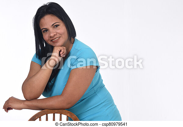portrait of a woman on white background - csp80979541