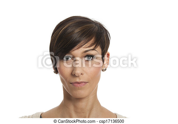 portrait of a woman on white - csp17136500