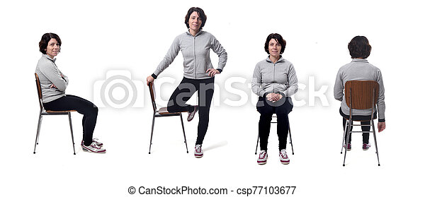 portrait of a woman sitting on a chair in white background - csp77103677