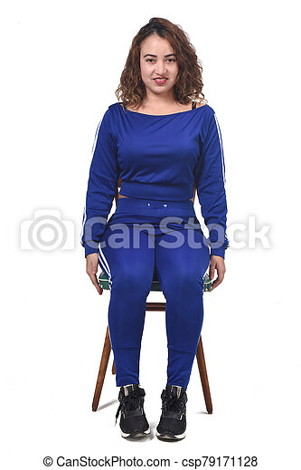 portrait of a woman sitting on a chair in white background, front view - csp79171128