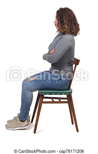 portrait of a woman sitting on a chair in white background, - csp79171206