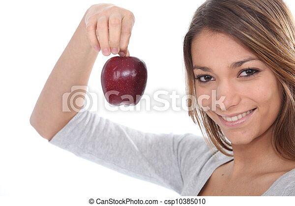 portrait of a woman with apple - csp10385010