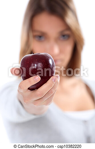 portrait of a woman with apple - csp10382220