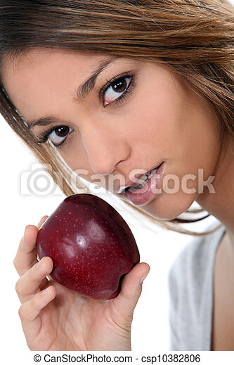 portrait of a woman with apple - csp10382806