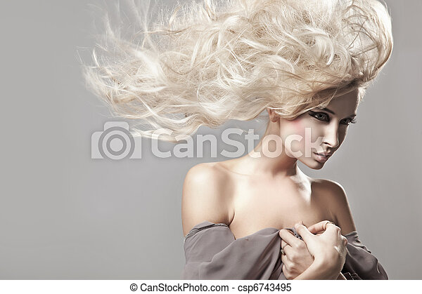 Portrait of a woman with long blonde hair - csp6743495