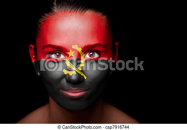 Portrait of a woman with the flag of the Angola - csp7916744