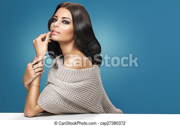 Portrait of a young adorable woman - csp27380372