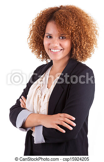 Portrait of a young african american business woman, isolated on white background - Black people - csp15924205