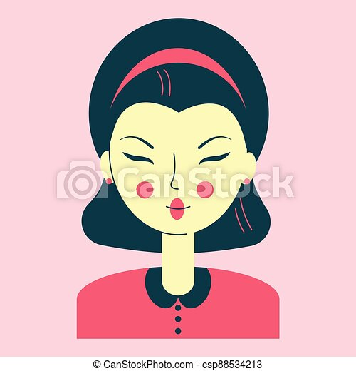 Portrait of a young Asian woman, avatar pink color, face narrow eyes, neat hairstyle, retro style clothes, vector illustration - csp88534213
