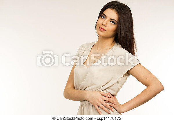 Portrait of a young attractive woman in dress - csp14170172