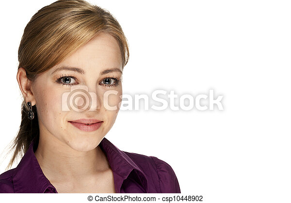 portrait of a young beautiful blonde business woman on white background - csp10448902