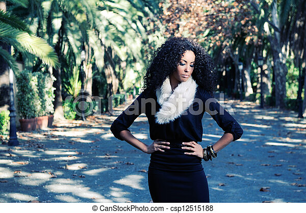 Portrait of a young black woman in - csp12515188