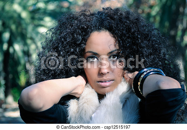 Portrait of a young black woman in - csp12515197