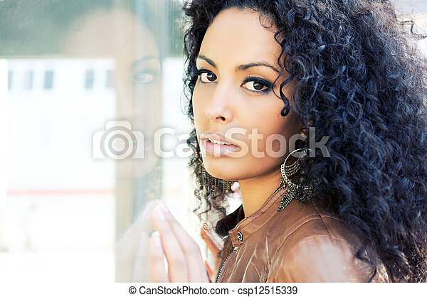 Portrait of a young black woman, model of fashion  - csp12515339