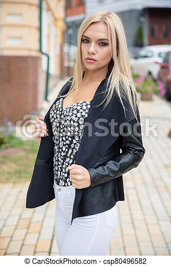 Portrait of a young blonde - csp80496582