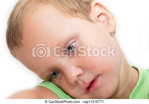portrait of a young boy on a white background - csp11216771