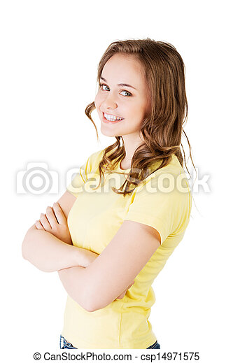 Portrait of a young caucasian person woman. - csp14971575