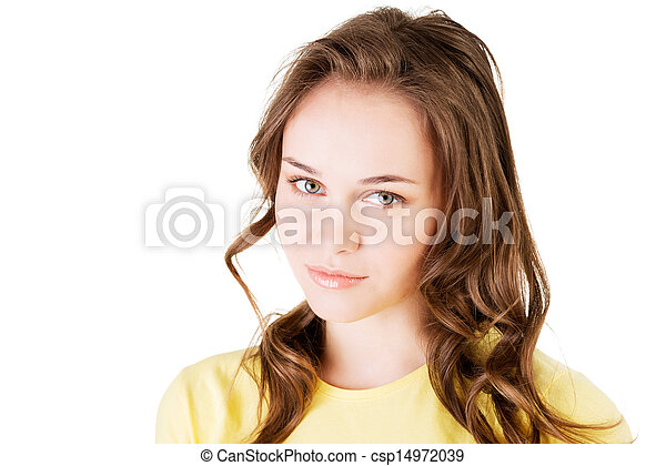 Portrait of a young caucasian person woman. - csp14972039