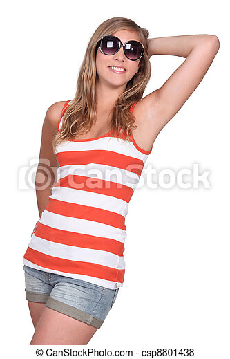 portrait of a young girl in summer clothes - csp8801438
