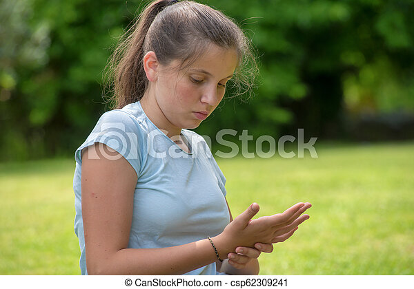 portrait of a young girl, outdoor - csp62309241