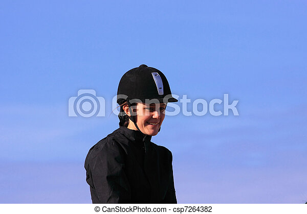portrait of a young rider before a contest - csp7264382