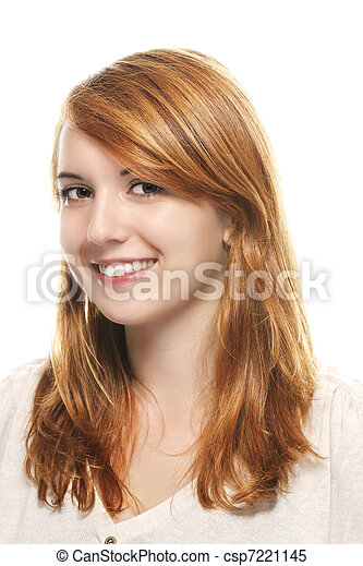 portrait of a young smiling redhead woman on white background - csp7221145