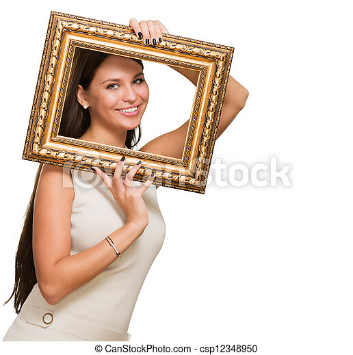 Portrait of a young woman holding frame on white background stock ...