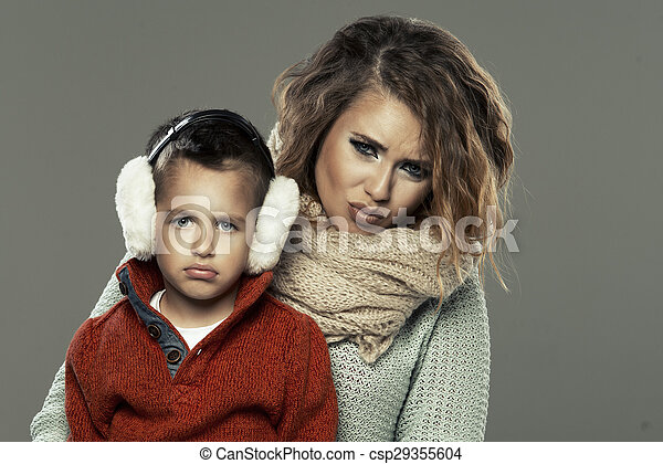 Portrait of a young woman with her son - csp29355604