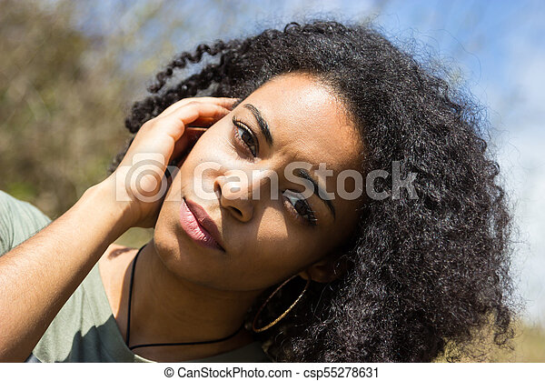 Portrait of an attractive African American woman - csp55278631