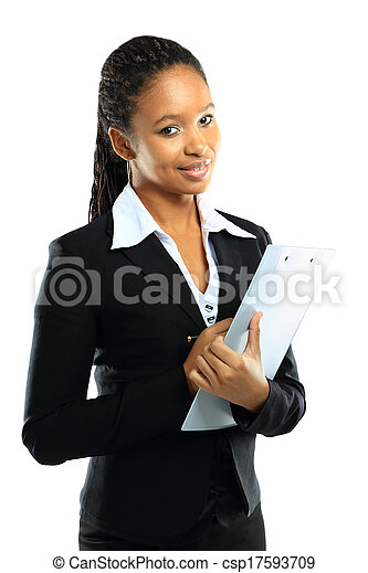 Portrait of an attractive young American african business woman with clipboard - csp17593709