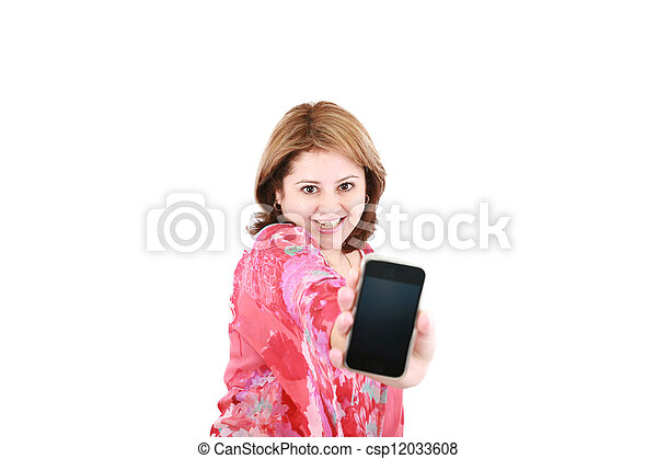 Portrait of an attractive young female advertising cellphone against white background - csp12033608