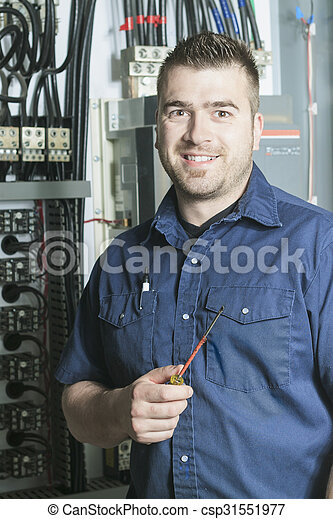 Portrait of an electrician in a room - csp31551977