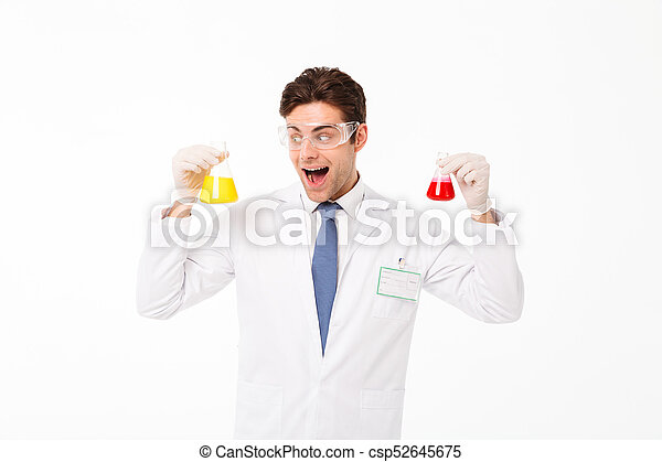 Portrait of an excited young male scientist - csp52645675