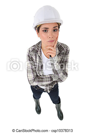 Portrait of an unsure tradeswoman - csp10378313