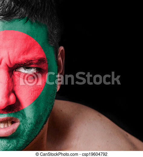 Portrait of angry man with painted flag of Bangladesh - csp19604792