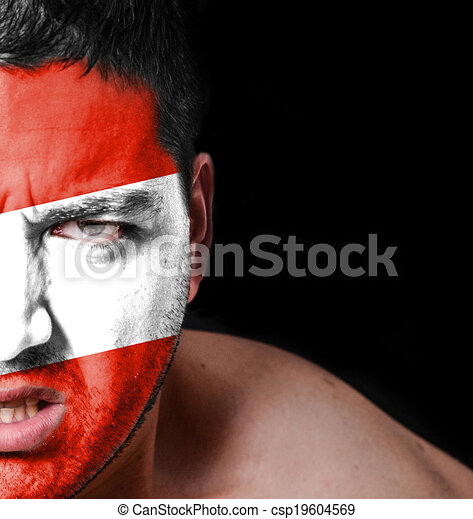 Portrait of angry man with painted flag of Austria - csp19604569
