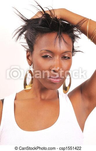 Portrait of attractive African American woman - csp1551422
