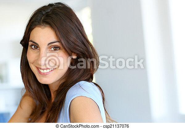 Portrait of attractive brunette woman - csp21137076