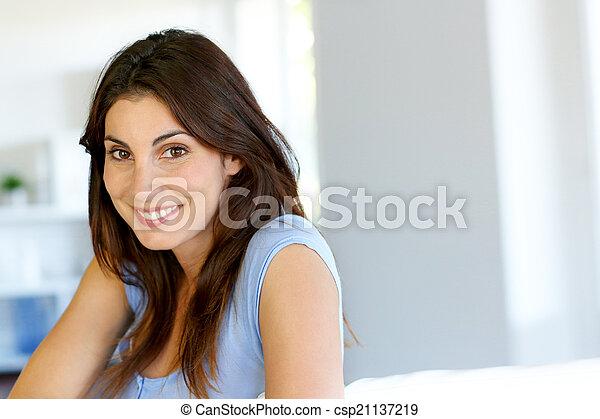 Portrait of attractive brunette woman - csp21137219