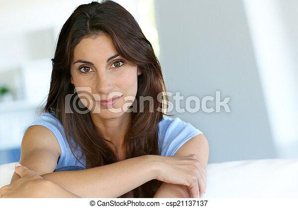 Portrait of attractive brunette woman - csp21137137