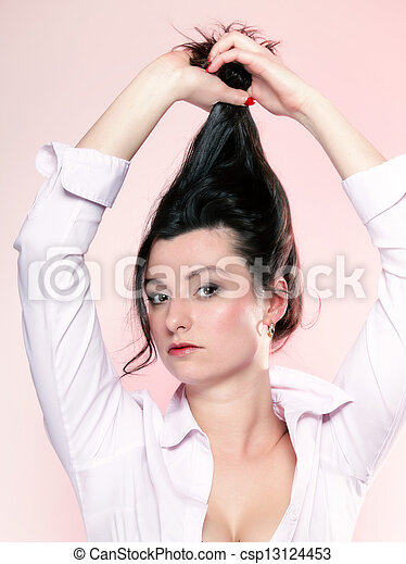 portrait of attractive woman brunette - csp13124453